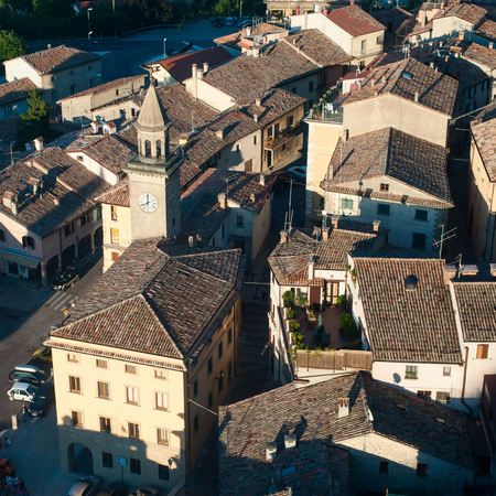 apennines: Top view on houses of San Marino. Republic San Marino is a small country in the Apennines