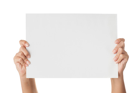 Woman hands holding paper isolated on white.