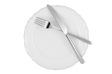 directly above: White dinner plate and cutlery isolated on white background. Studio shot.