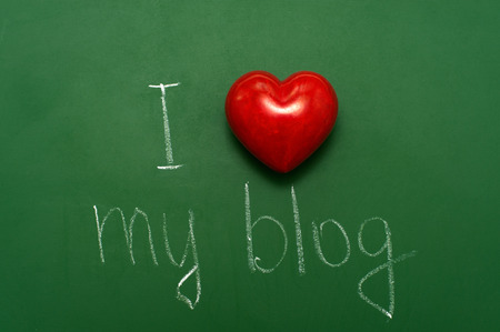 I love my blog handwritten on school green chalkboard. photo