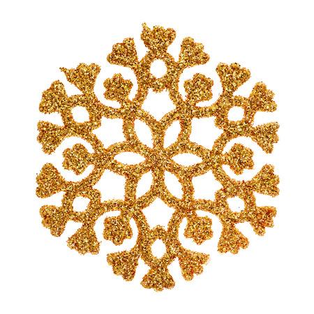 estrellas de navidad: Copo de nieve del brillo del oro aislado en el fondo blanco.
