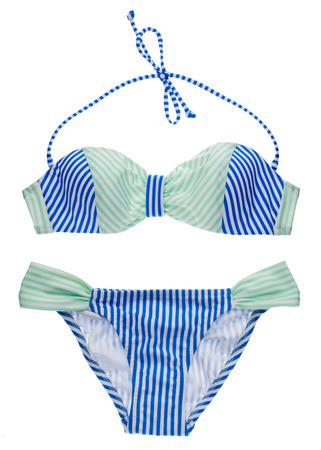 two piece bathing suit: Conjunto bikini azul y verde azulado con bandas aisladas en blanco. Foto de archivo