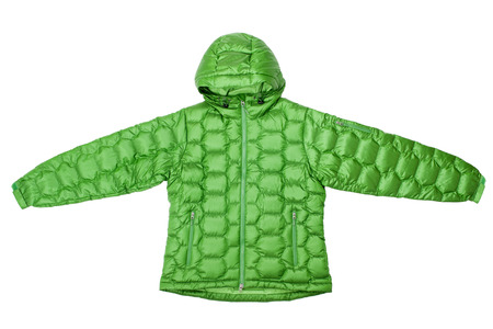 polyester: Green down jacket isolated on white background.