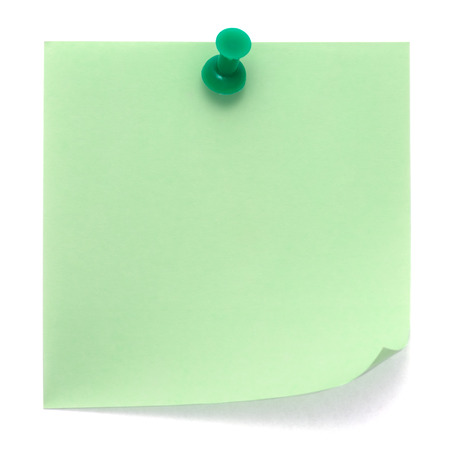 Green post-it note pinned on a pure white background. Waiting for your message.