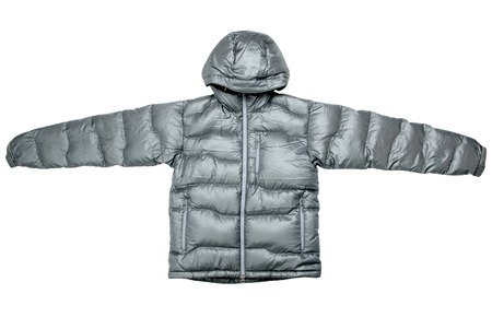 polyester: Gray down jacket isolated on white background Stock Photo