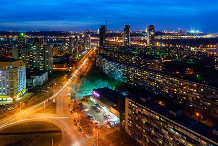 kyiv: Evening view of Kiev city (Berezniaki district). Stock Photo