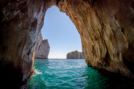 cave: Blue grotto in Capri island, Italy. Inside cave view.