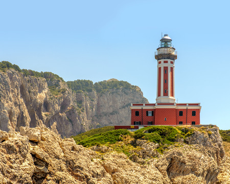 Punta Carena lighthouse on the Island of Capri in Italy.