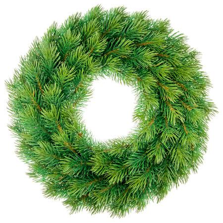 Green christmas wreath isolated on white background. Zdjęcie Seryjne