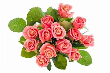rosas rojas: Rosas de color rosa ramo aislados sobre fondo blanco, desde arriba.