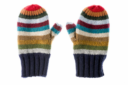Pair of varicolored striped mittens isolate on white. Zdjęcie Seryjne