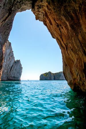 Blauwe grot in Capri eiland, Italië. Binnen grot uitzicht.