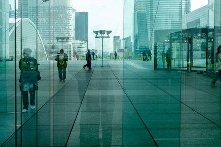 la defense: La Defense abstract background (Financial District in Paris) with unrecognizable commuters and tourists.