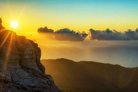 sunrise mountain: Sunrise in mountains, nature background. Photo taken on Ay Petri peak, Ukraine. Stock Photo