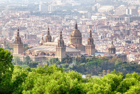 barcelona city: Landscape view of Montjuic National Palace in Barcelona, Spaine.