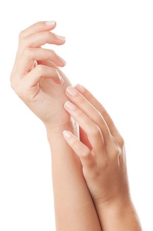 French manicured nails - isolated on white background.