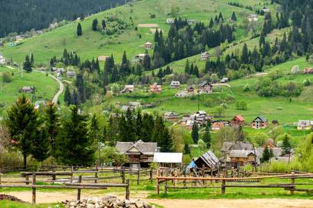 carpathian mountains: Beautiful village in the valley of the Carpathian Mountains. Photo taken in Vorohta, Ukraine. Stock Photo
