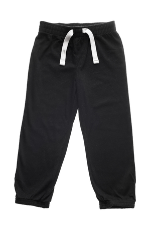 sweats: Black childrens sweatpants with ties isolated on the white Stock Photo