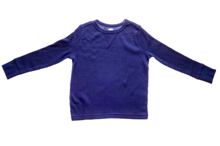 white sleeve: Photograph of  blank blue long sleeve shirt isolated on white background. Stock Photo