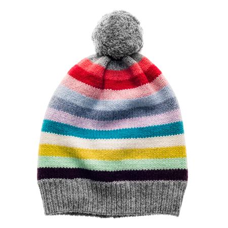 Di maglia a strisce cappello di lana per bambini con pompon isolato su sfondo bianco. Archivio Fotografico - 49940379