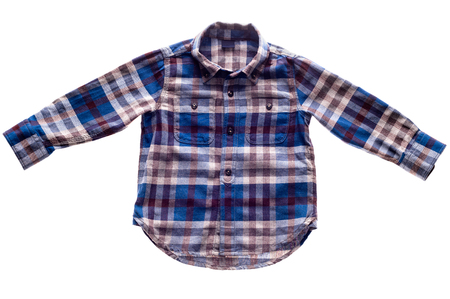 childrens wear: Childrens wear - plaid flannel shirt isolated on white background Stock Photo