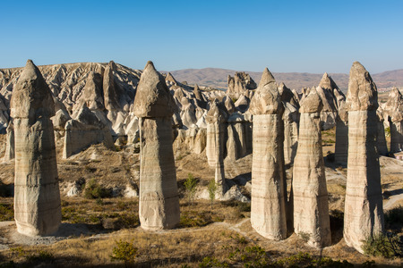 phallus: Rocks in the form of huge phallus in the valley of Love, Goreme, Cappadocia, Turkey Stock Photo