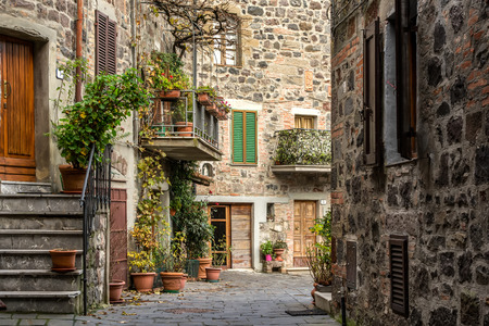 Radicofani street view. Radicofani is a comune in the Province of Siena in the Italian region Tuscany, located in the natural park of Val D Orcia.