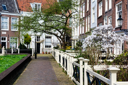 AMSTERDAM, NETHERLANDS - APRIL 11, 2018: Begijnhof is one of the oldest inner courts in the city of Amsterdam. 新聞圖片