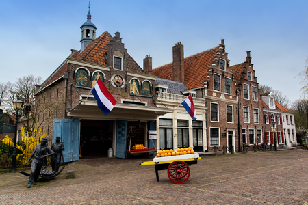 EDAM, NETHERLANDS - APRIL 14, 2018: Edam is a small village in the district Nordholland, Netherlands. Edam famous for its cheese market.