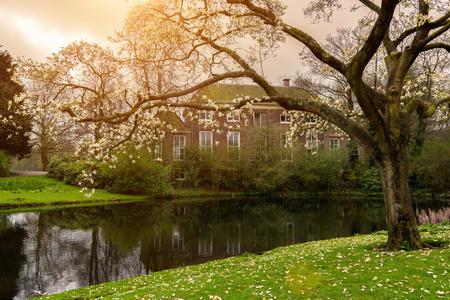 Beautiful spring scene in Het park in Rotterdam city park during sunset, Netherlands