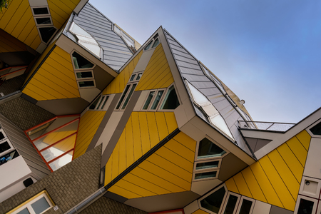 ROTTERDAM, NETHERLANDS - APRIL 13, 2018: Cube houses (Kubuswoningen) are a set of innovative houses built in Rotterdam designed by architect Piet Blom