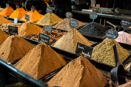 Variety of spices on market in Rotterdam Netherlands - food background
