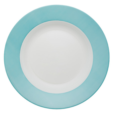 Empty white ceramic dinner plate wit blue border from above isolated on white.