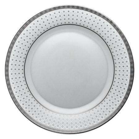 Empty white ceramic dinner plate with gray ornament border from above isolated on white. Zdjęcie Seryjne