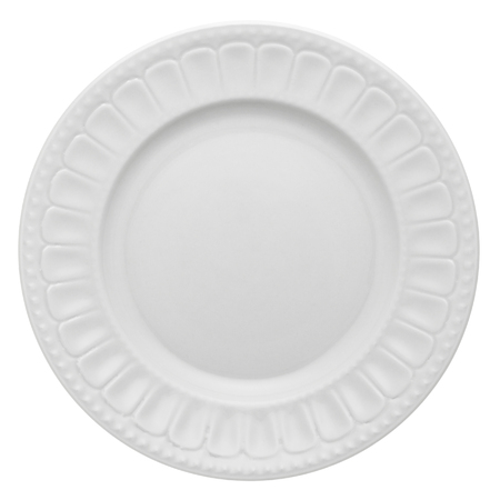 Empty white ceramic textured dinner plate from above isolated on white.