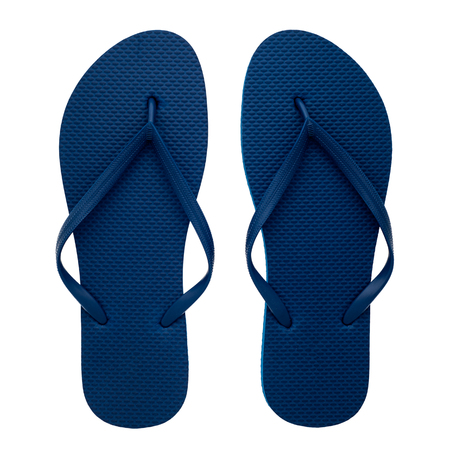 Blue rubber flip-flops isolated over white background, pair of thongs, shot above.