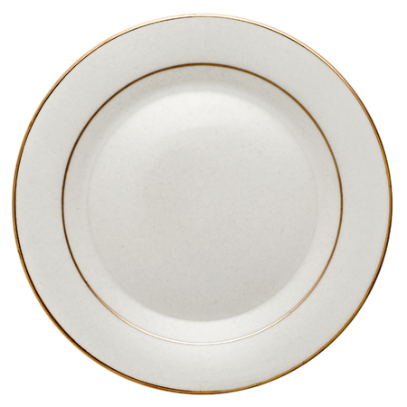 Empty white ceramic dinner plate with golden edge from above isolated on white. Zdjęcie Seryjne