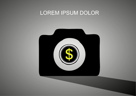 crowd sourcing: Camera With Coin Lens icon vector Illustration