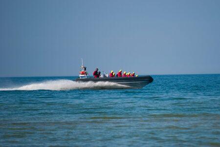 coastguard: coast guard boat in action Stock Photo