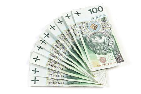 polish money 100 zloty banknotes photo
