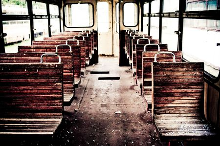 chairs in vintage train photo
