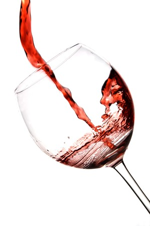 red wine pouring wineglass photo