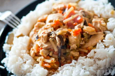 chinese food chicken with vegetables with rice Stock Photo - 8363787