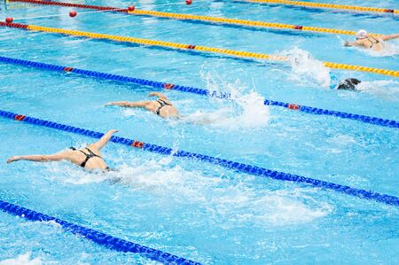swimmers swimming in a pool  photo