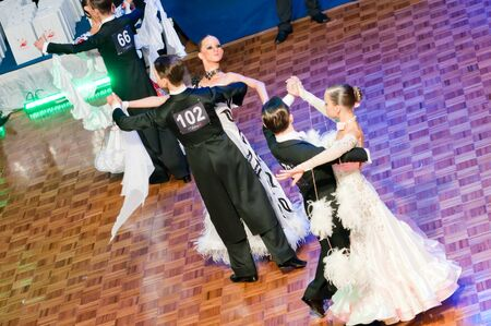 SZCZECIN, POLAND-MARCH 12 2011- Competitors dancing slow waltz at the Polish Championship in the ballroom dance
