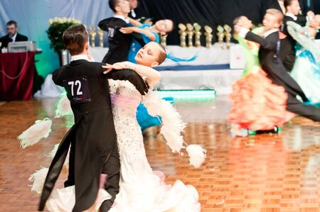 SZCZECIN, POLAND-MARCH 12 2011- Competitors dancing slow waltz at the Polish Championship in the ballroom dance  Stock Photo - 9025305