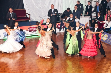 SZCZECIN, POLAND-MARCH 12- Competitors dancing slow waltz at the Polish Championship in the ballroom dance