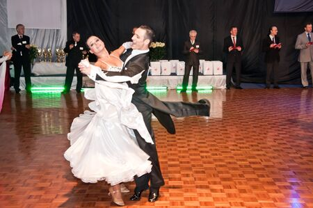 SZCZECIN, POLAND-MARCH 12- Competitors dancing slow waltz at the Polish Championship in the ballroom dance   Editorial