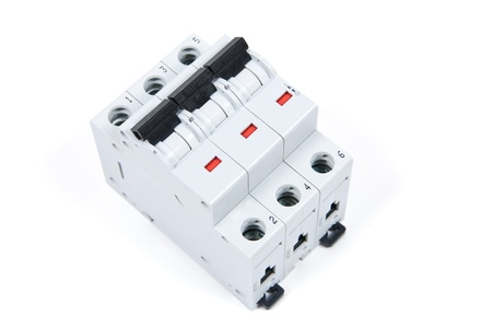 three phase: three phase safety switch in OFF position Stock Photo