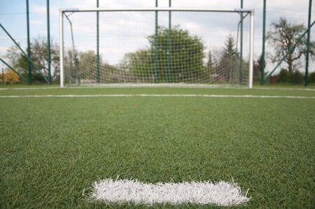 white line on football court photo